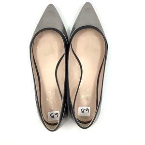 Kate Spade silver shimmer black edges flat shoes